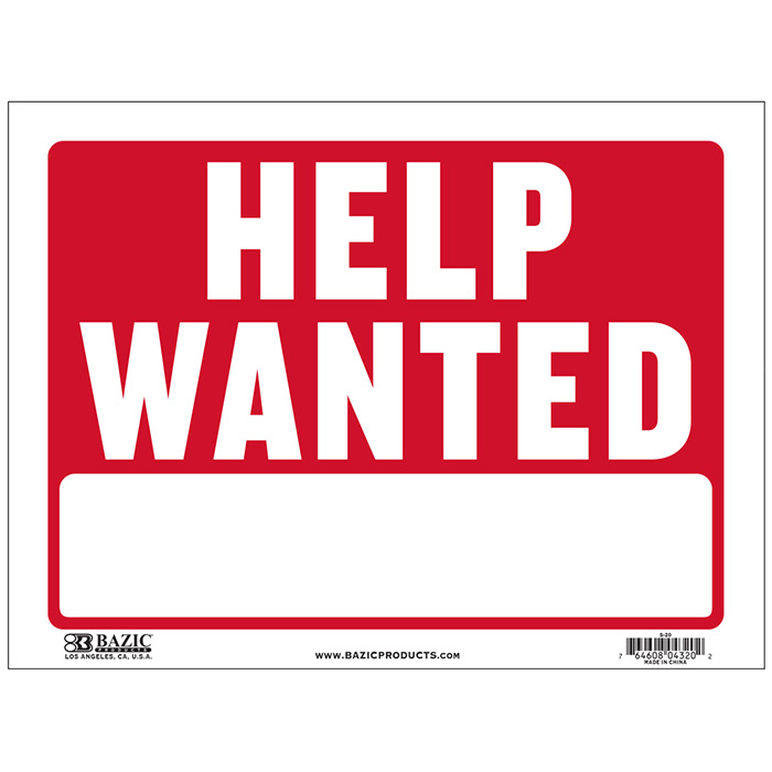 This is a graphic of Unforgettable Printable Help Wanted Sign