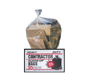 clear contractor bags.
