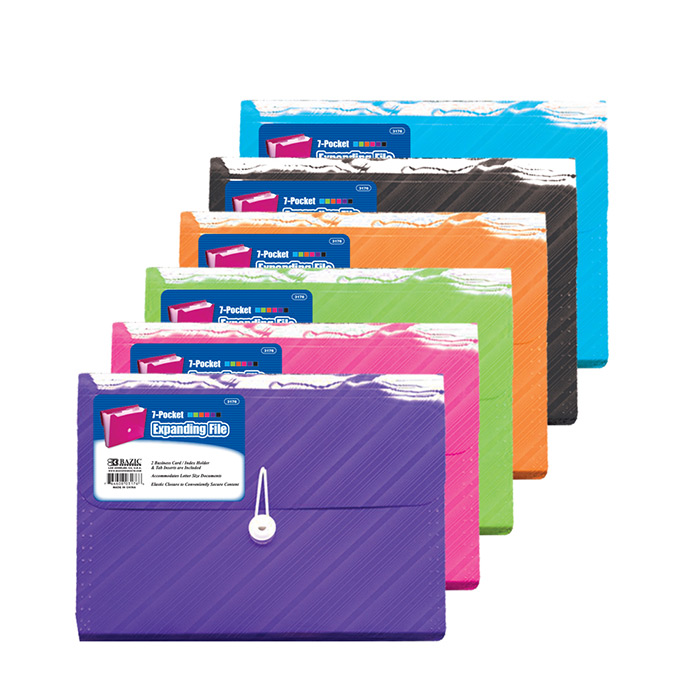 Translucent 7-Pocket Letter Size Poly Expanding FILES