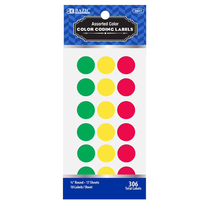 Cheap Assorted Colored Round Labels 3/4""