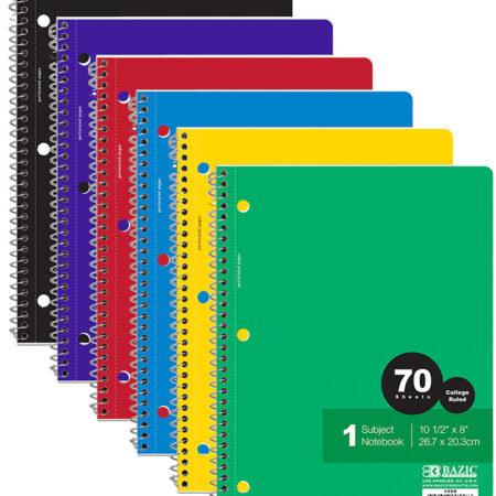 Cheap 1 Subject Spiral Bound Notebooks