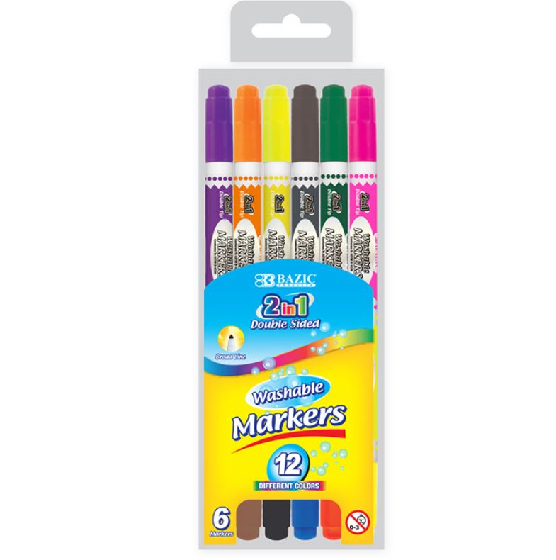 Double-tipped washable markers
