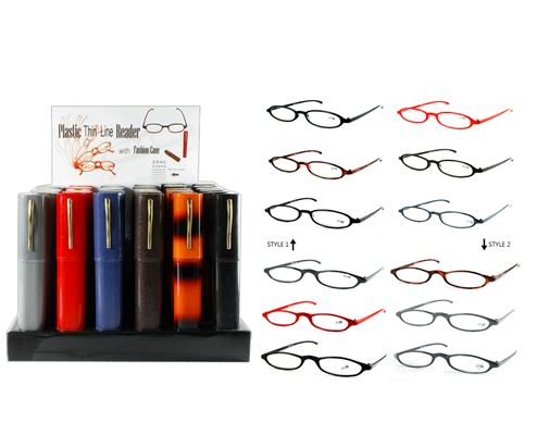 cheap plastic frame reading glasses in tube case