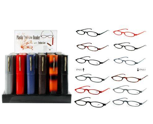 cheap plastic frame reading glasses in tube case