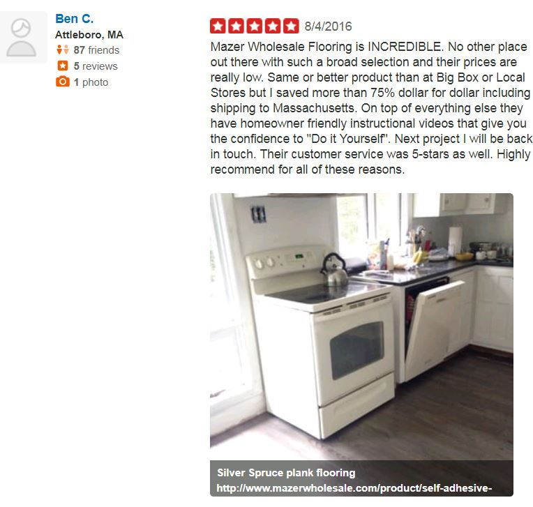 Yelp review about Mazer Wholesale