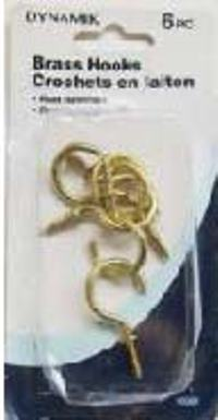 1 INCH BRASS CUP HOOKS 6PC