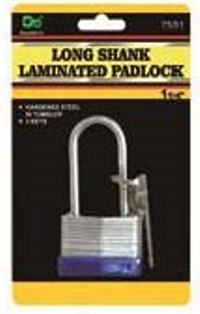 Long Shank Laminated Padlock 1 1 by 4 inches