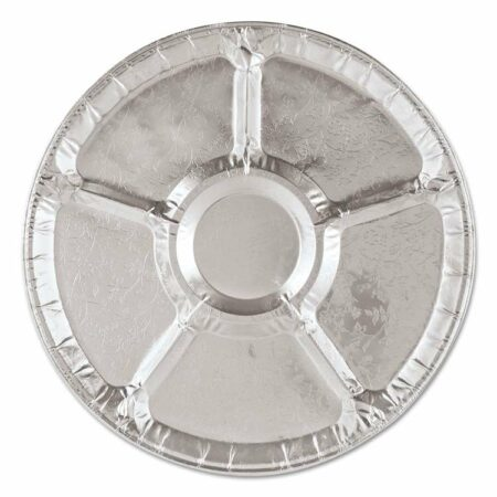 sectioned round aluminum tray