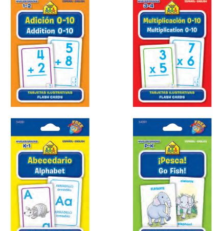 assorted bilingual flash cards