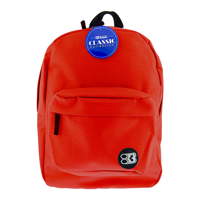 Red backpack with pocket