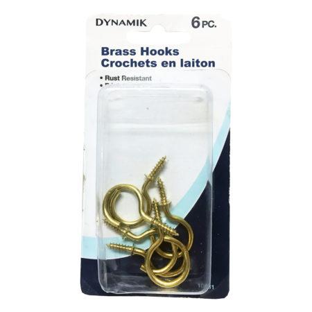Brass Cup Hooks 1″