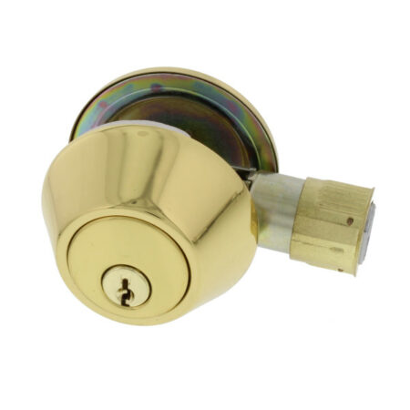 Entry Door Lock, Round Deadbolt, Polished Brass Finish