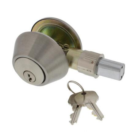 Entry Door Lock, Round Deadbolt, Stainless Steel