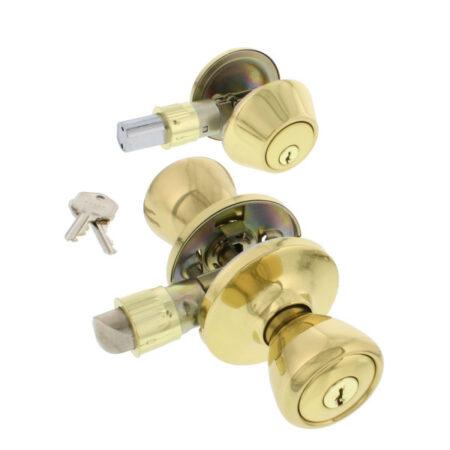 Entry Door Lock Set, Deadbolt, Polished Brass Fiish