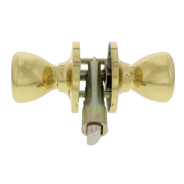 Passage Door Knob, Non Locking, Polished Brass Finish