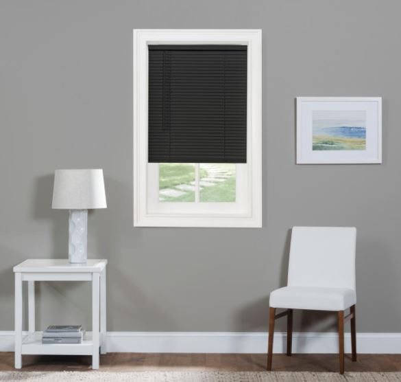 black vinyl mini blinds from Mazer Wholesale - 800-343-0780